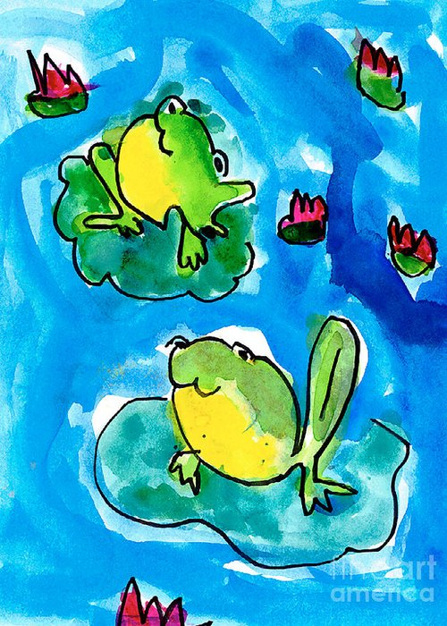 Frog Greeting Card featuring the painting Frogs by Elyse Bobczynski Age Five