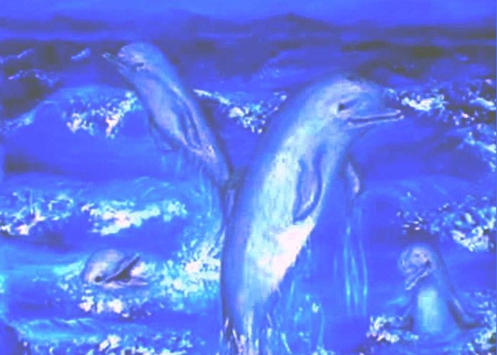 Dolphins Frolicking Ocean Blues Greeting Card featuring the painting Frolicking Dolphins by Tanna Lee M Wells
