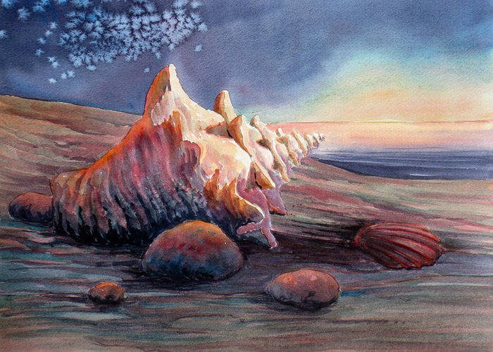 Seashell Greeting Card featuring the painting From Another World by Don Trout