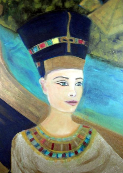 Egypt Greeting Card featuring the painting From Darkness Sailed The Golden Barque by Michela Akers