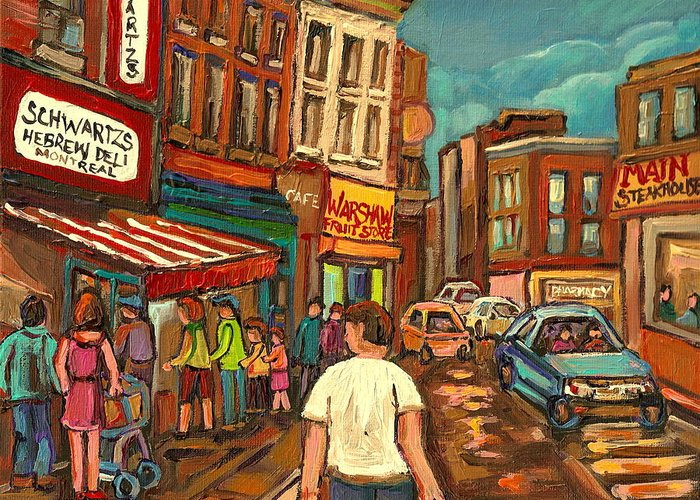 From Schwartzs To Warshaw Greeting Card featuring the painting From Schwartz's To Warshaws To The Main Steakhouse Montreal's Famous Landmarks By Carole Spandau by Carole Spandau