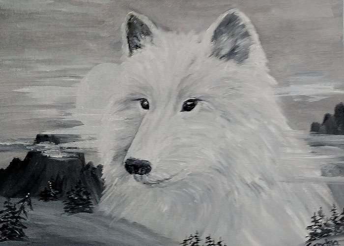 White Wolf Greeting Card featuring the painting From The Mist Of The Moon by Sandra Maddox