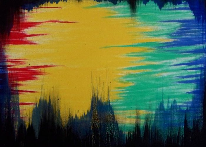 Abstract Greeting Card featuring the painting From The Outside Looking In by Rod Schneider
