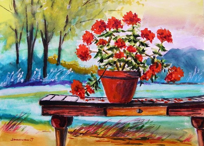 Geranium Greeting Card featuring the painting From The Potting Shed by John Williams