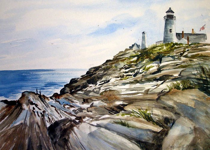 Pemaquid Light House;rocks;ocean;maine;pemaquid;light;lighthouse; Greeting Card featuring the painting From The Rocks Below by Lois Mountz