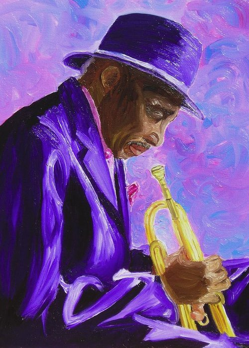 Street Musician Trumpet Player Greeting Card featuring the painting From The Soul by Michael Lee