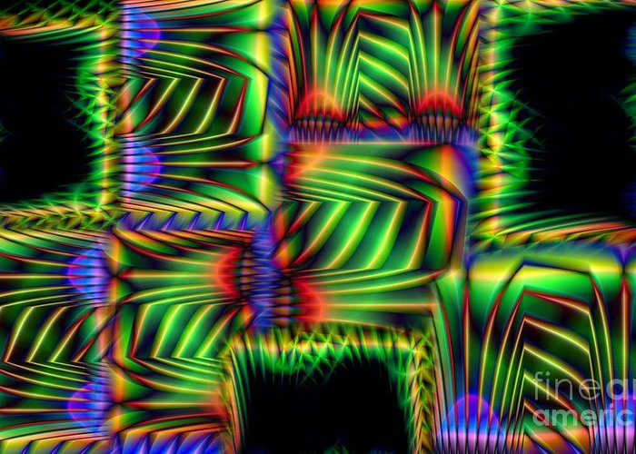 Abstract Greeting Card featuring the digital art Frond Collage by Ron Bissett