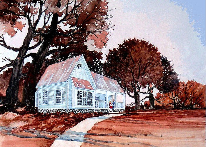Old House Texas New Mexico Trees Southwest Landscape Giclee Prints Greeting Card featuring the painting Front Porch Court'n by Donn Kay