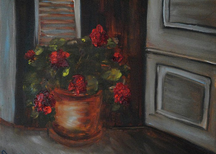 Flowers Greeting Card featuring the painting Front Porch Flowers by Debbie Frame Weibler