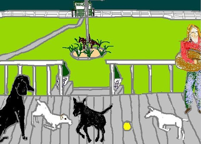 Dogs Greeting Card featuring the digital art Front Porch Fun by Carole Boyd