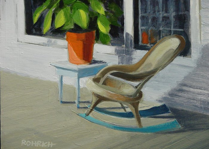 Wicker Greeting Card featuring the painting Front Porch Memories by Robert Rohrich