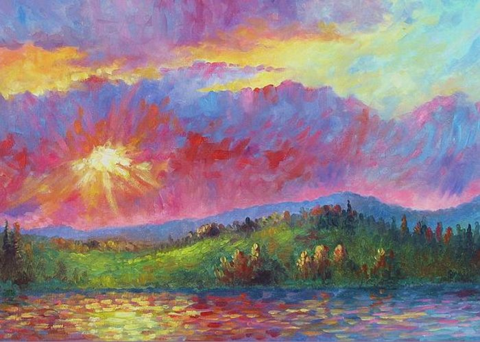 Landscape Greeting Card featuring the painting Front Range Sunset by David G Paul