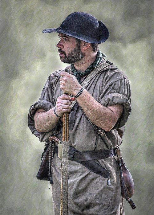 Frontiersmen Greeting Card featuring the digital art Frontiersman Ranger Scout Portrait by Randy Steele