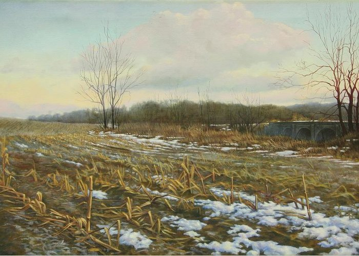 Landscape Greeting Card featuring the painting Frost by Stephen Bluto