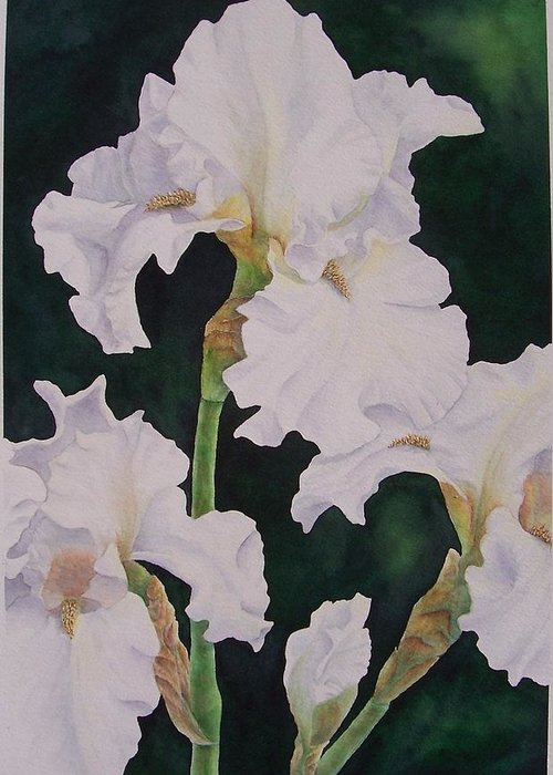 Flower Greeting Card featuring the painting Frosted Pearl Iris by Cherry Woodbury