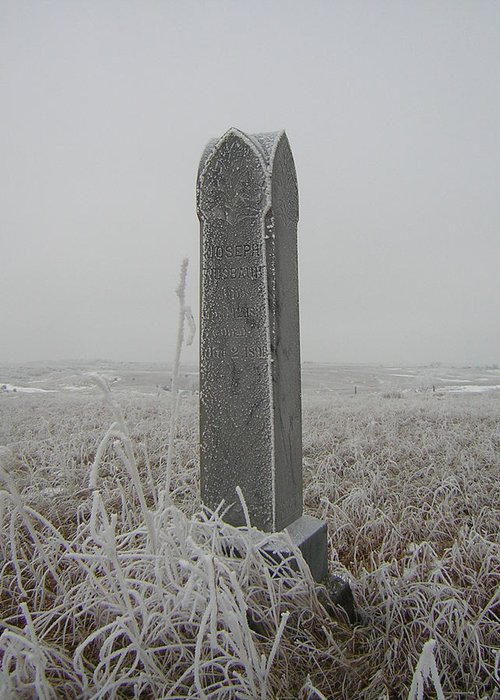 Winter Greeting Card featuring the photograph Frosty Gravestone by Deena Keller
