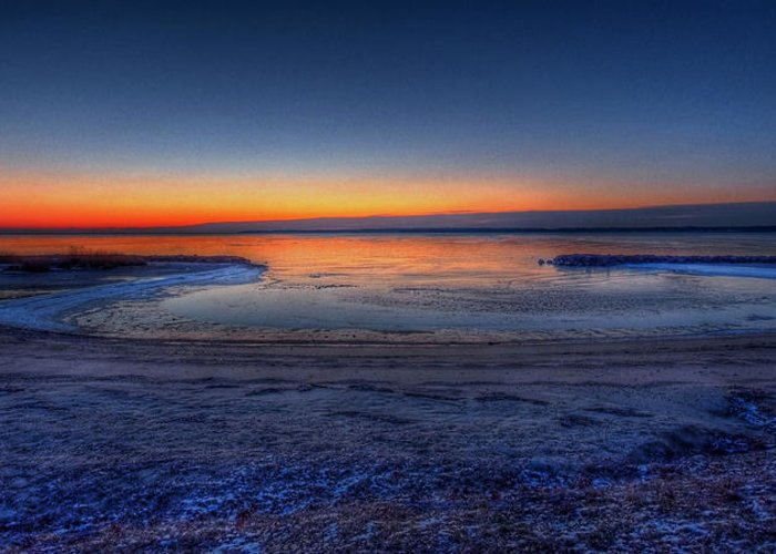 Hdr Greeting Card featuring the photograph Frozen Bay by E R Smith