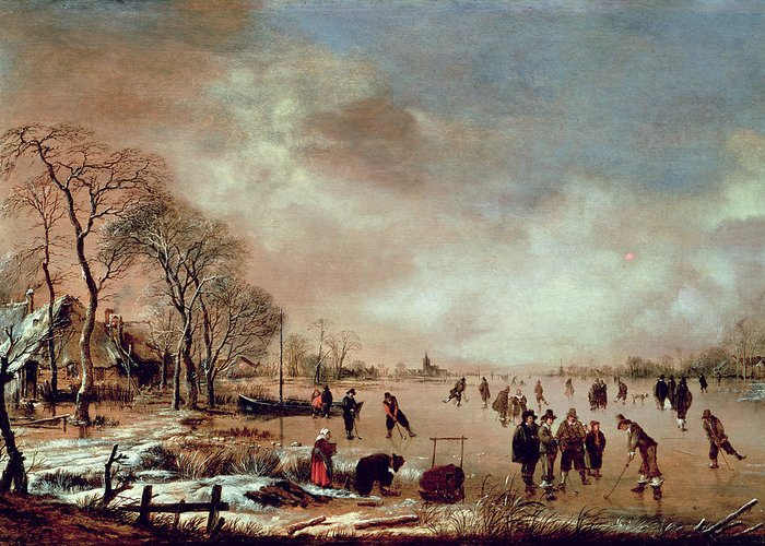 Frozen Greeting Card featuring the painting Frozen Canal Scene by Aert van der Neer