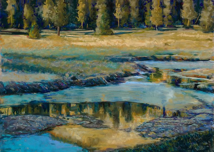 River Greeting Card featuring the painting Frozen Reflections by Billie Colson