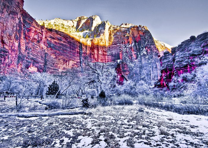 Landscape Greeting Card featuring the digital art Frozen Zion by Ches Black