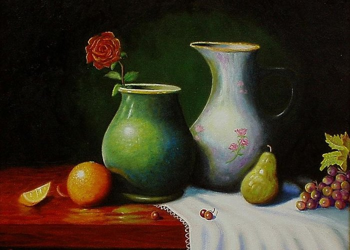 Still Life Greeting Card featuring the painting Fruit And Pots. by Gene Gregory