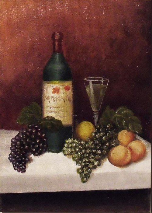 Fruit And Wine Greeting Card featuring the painting Fruit And Wine B by Helen Thomas