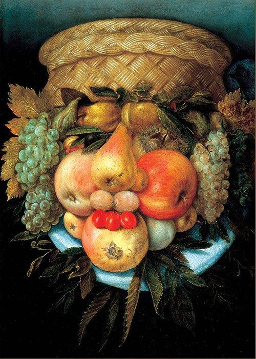 Giuseppe Arcimboldo Greeting Card featuring the painting Fruit Basket by Giuseppe Arcimboldo