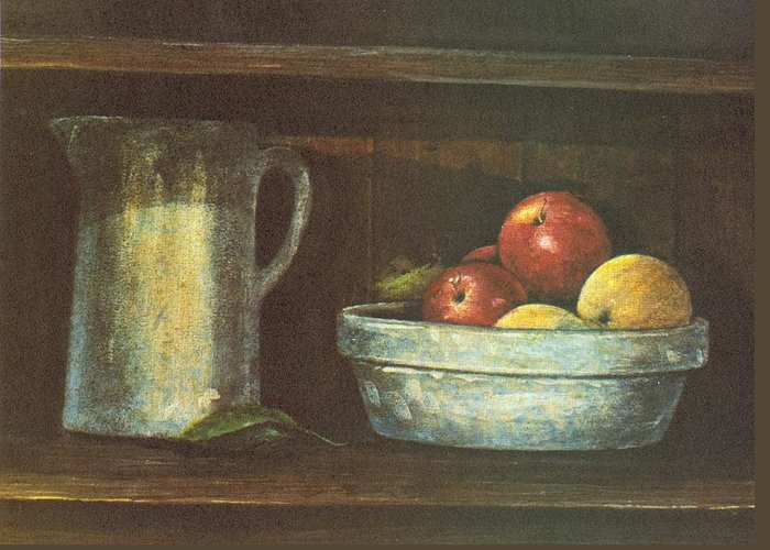 Fruit Greeting Card featuring the painting Fruit Bowl by Charles Roy Smith