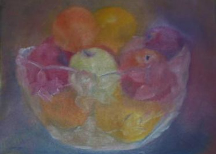 Still Life Greeting Card featuring the painting Fruit In Glass Bowl by Sheila Mashaw