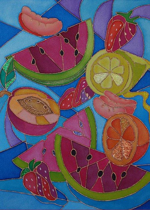 Still Life Greeting Card featuring the painting Fruit Mix by Tatiana Antsiferova