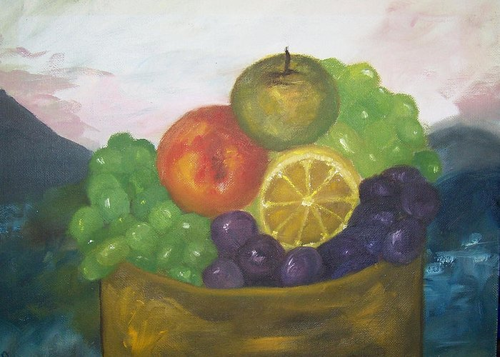 Oil Painting Greeting Card featuring the painting Fruit Of The Land by Pamela Wilson
