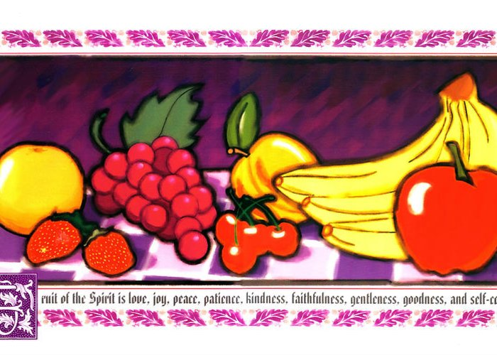 Fruit Of The Spirit Greeting Card featuring the painting Fruit Of The Spirit by Brett H Runion