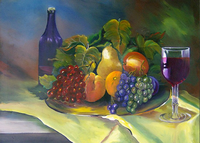 Wine Bottle Greeting Card featuring the painting Fruit of the vine by Julie Lamons