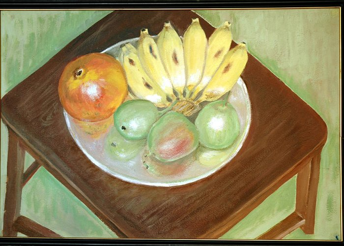 Fruits Greeting Card featuring the painting Fruit Plate by Usha Shantharam