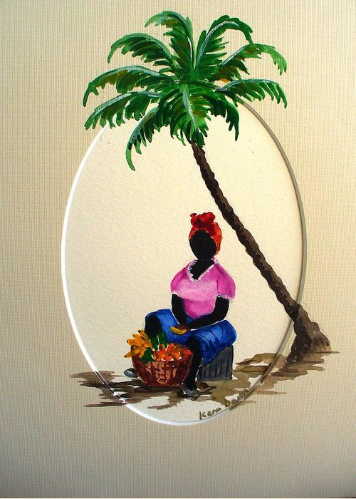 Greeting Card featuring the painting Fruit Seller by Karin Dawn Kelshall- Best