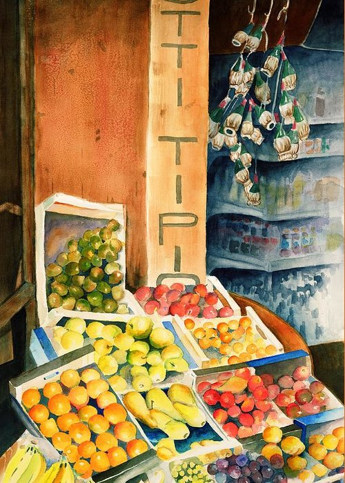 Fruit Shop Window Greeting Card featuring the painting Fruit Shop In San Gimignano by Judy Swerlick