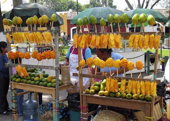 Antigua Greeting Card featuring the photograph Fruit Stand Antigua Guatemala by Kurt Van Wagner
