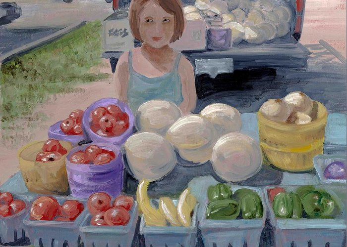 Fruit Greeting Card featuring the painting Fruit Stand Girl by Cathy France