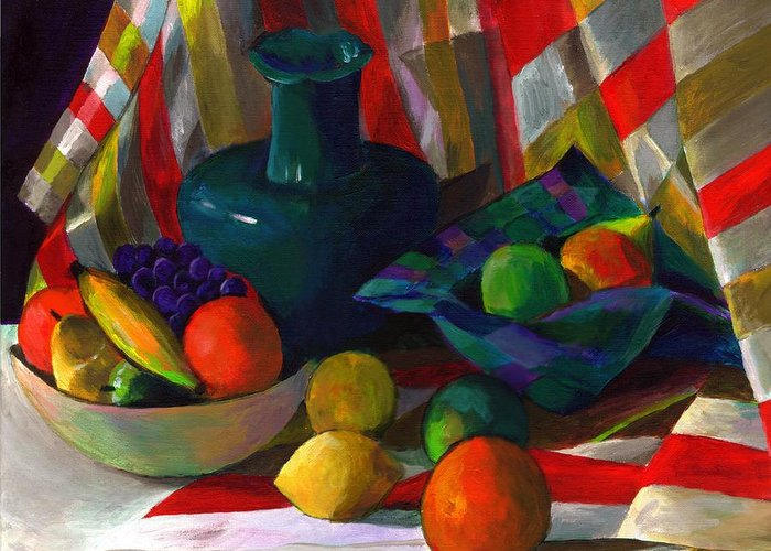 Still Greeting Card featuring the painting Fruit Still Life by Peter Shor