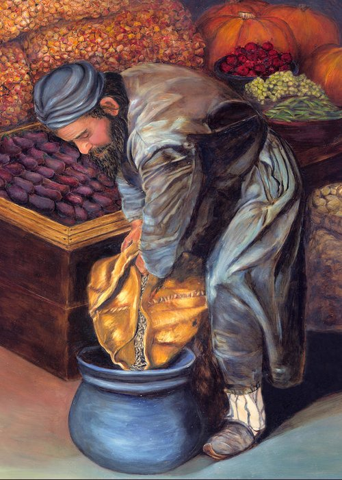 Figurative Painting Greeting Card featuring the painting Fruit Vendor by Enzie Shahmiri