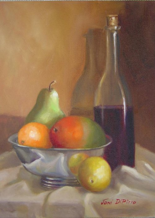 Still Life Greeting Card featuring the painting Fruit With Bottle Of Wine by Joni Dipirro