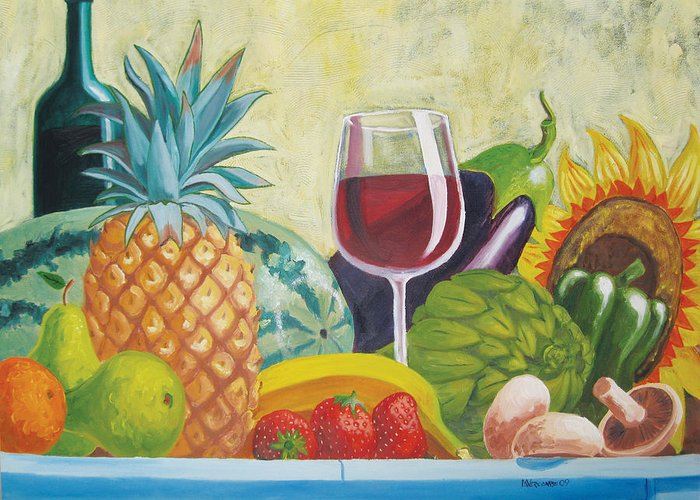 Pineapple Greeting Card featuring the painting Fruits And Vegetables by D T LaVercombe