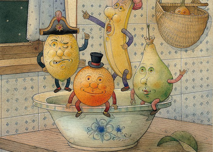 Night Moon Fruits Kitchen Greeting Card featuring the painting Fruits by Kestutis Kasparavicius