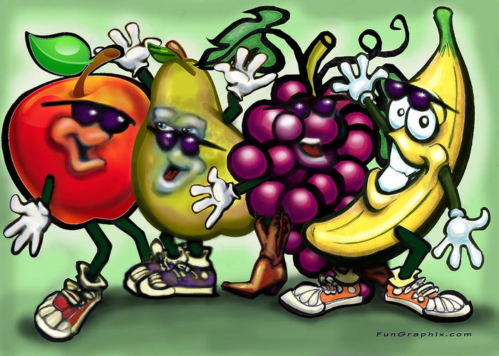 Fruit Greeting Card featuring the painting Fruits by Kevin Middleton