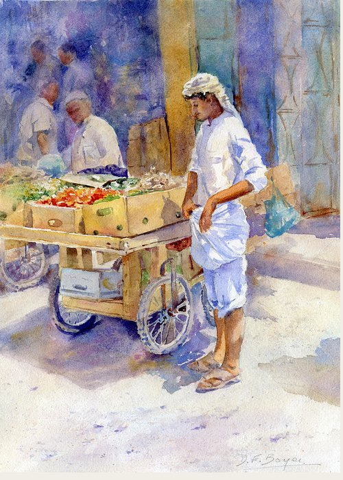 Souq Greeting Card featuring the painting Fruitseller Jeddah by Dorothy Boyer