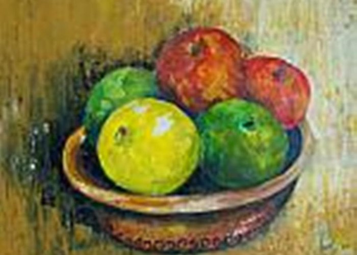 Apples And Oranges Greeting Card featuring the painting Frutas by Carol P Kingsley