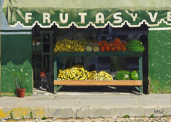 Market In Puerto Vallarta Mexico. Dog Added. Greeting Card featuring the painting Frutas Y by Michael Ward