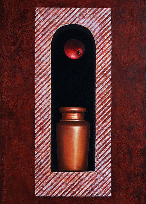 Apple Greeting Card featuring the painting Fugitive Apple Essence by Horacio Cardozo