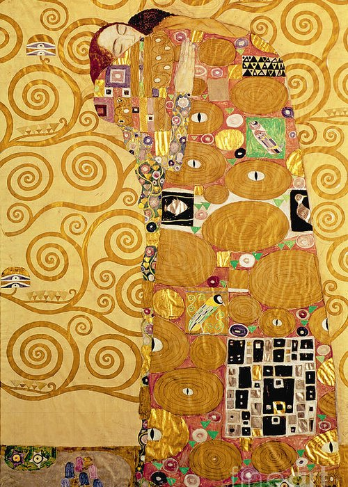 Fulfilment Greeting Card featuring the painting Fulfilment Stoclet Frieze by Gustav Klimt