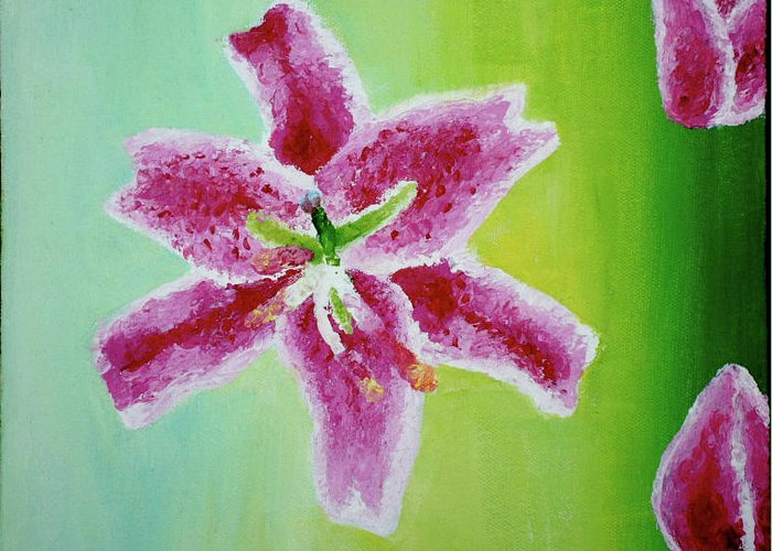 Flower Greeting Card featuring the painting Full Bloom by Missy Yake